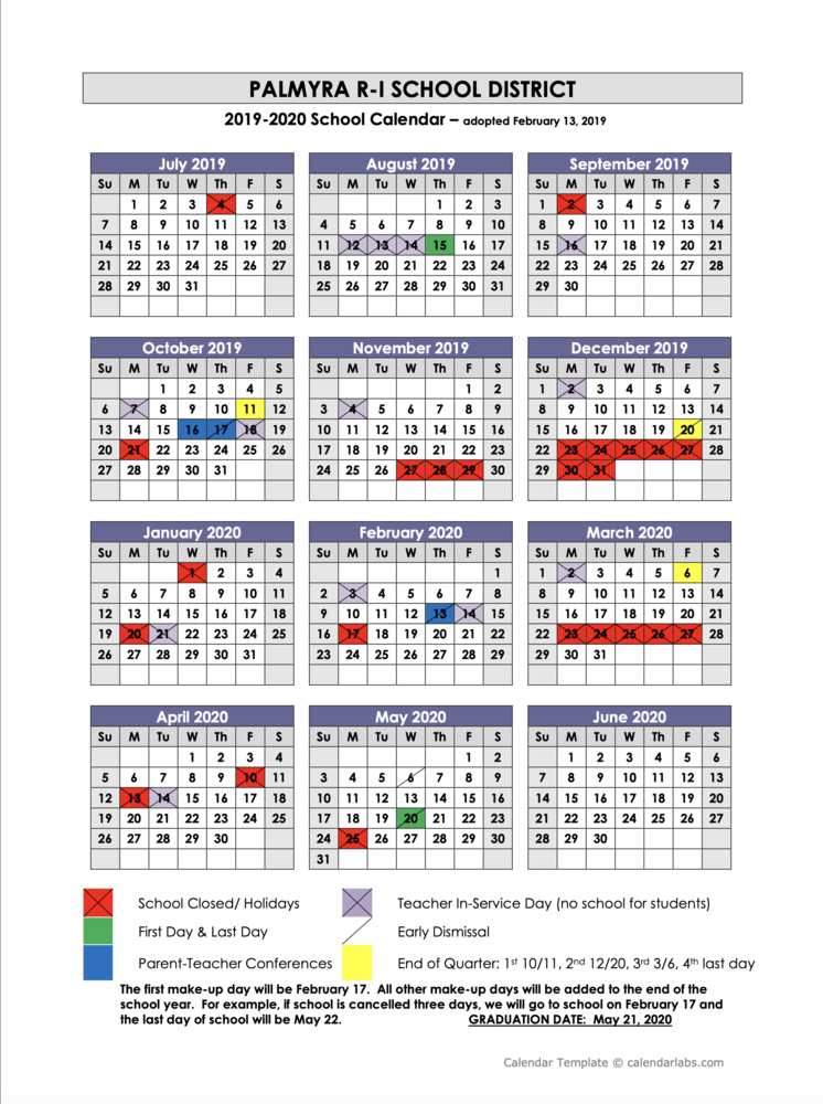2019-2020 Palmyra R-1 School District Calendar