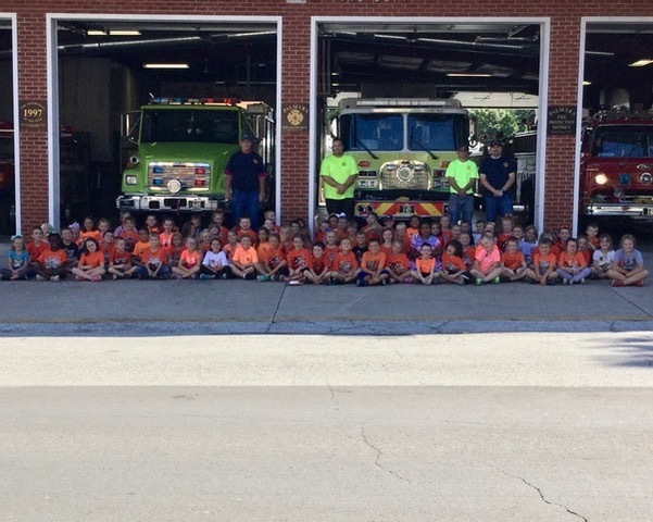 First graders at the fire station