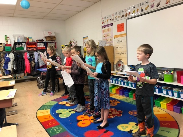 Second graders performing