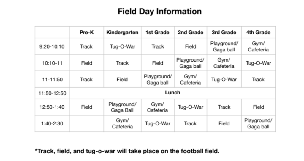 Field Day Schedule