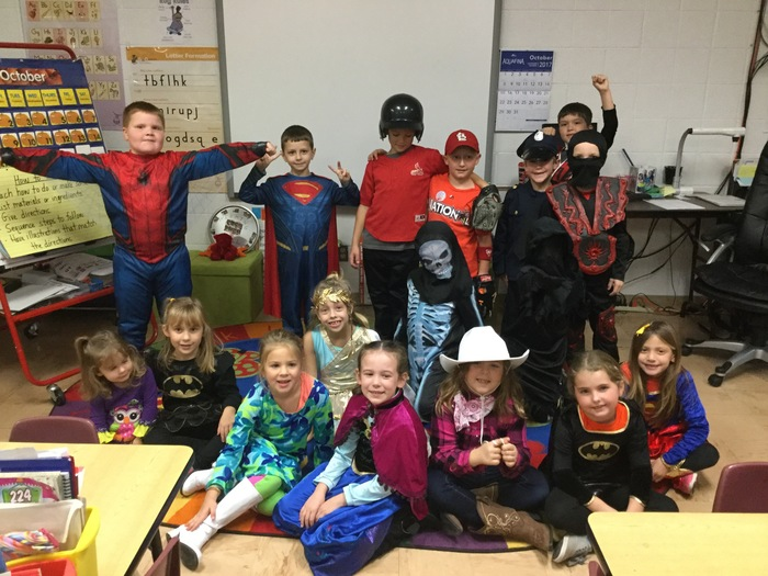 Mrs. Keim's first grade class all dressed up for Halloween party.