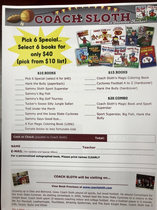 Order forms for Coach Sloth's books!