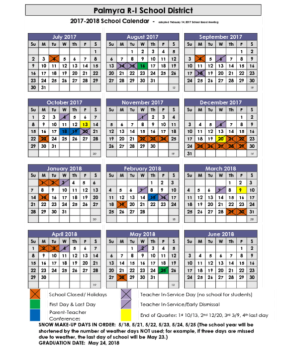 Palmayra School District 2017-2018 calendar