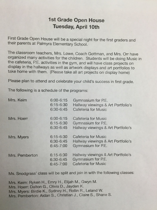 First grade open house schedule